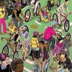Illustration of folks biking