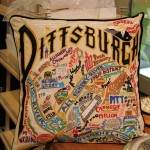 Beauitful embroidered pillow of Pittsburgh